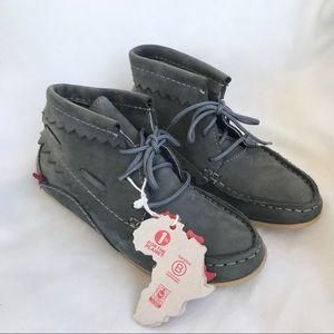 Oliberte Hirari Grey Leather Moccasin Booties NWT